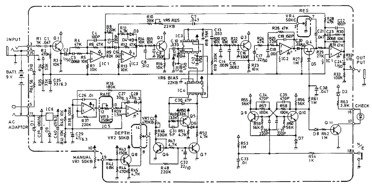 Boss BF-2 flanger guitar pedal schematic diagramHobby Hour