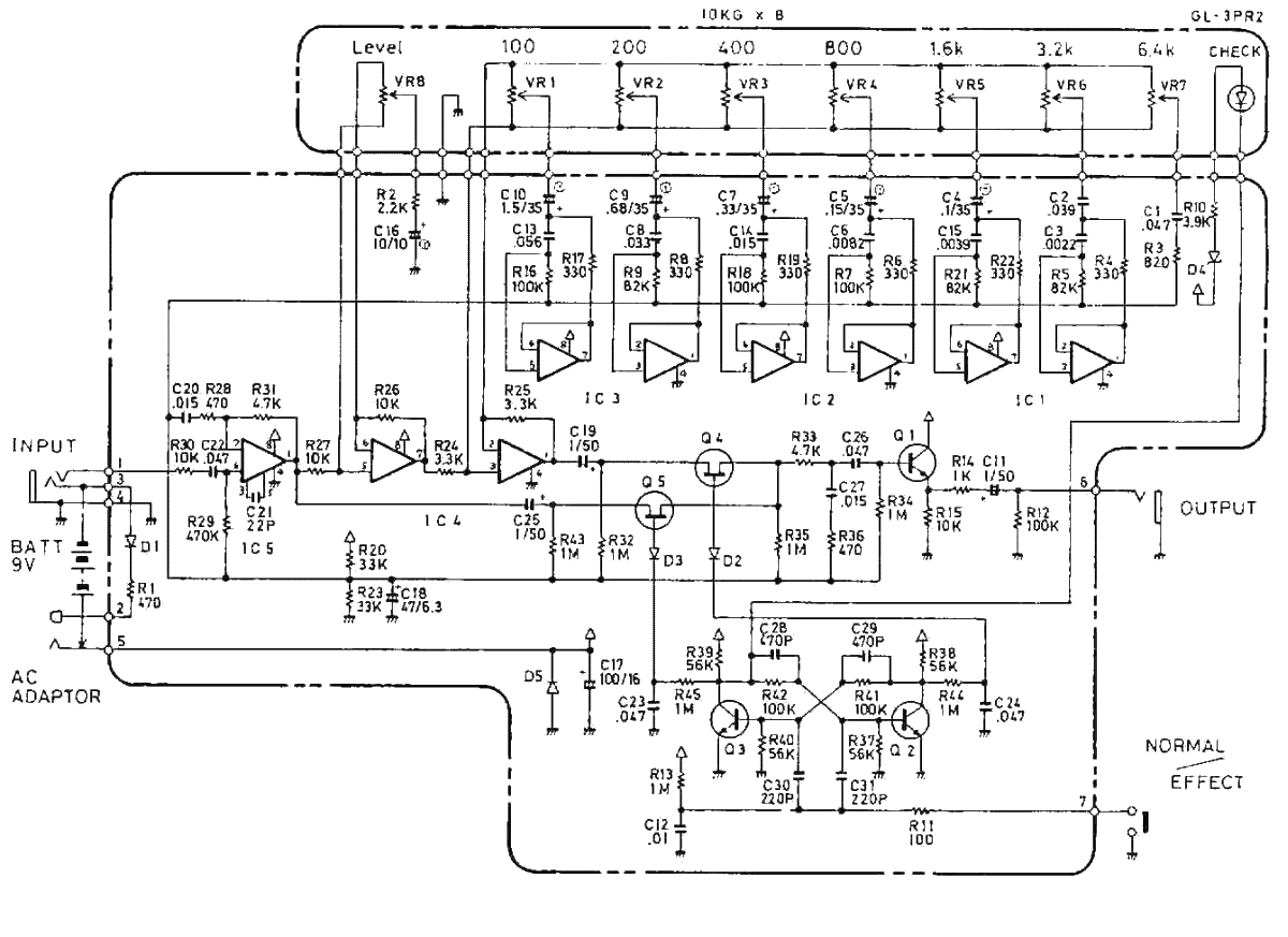boss ge-7 equalizer guitar pedal schematic diagram, Circuit diagram