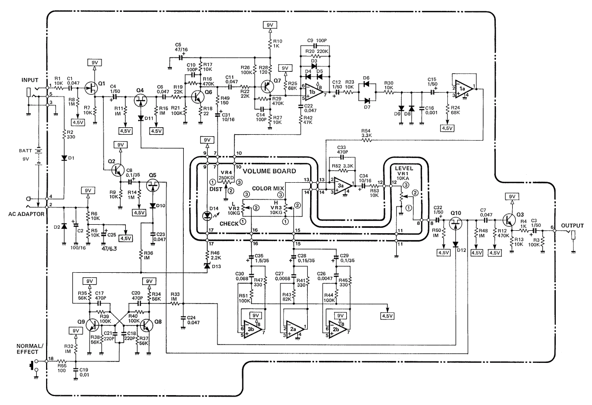 Schematic diagram of Boss HM-2 Heavy Metal pedal