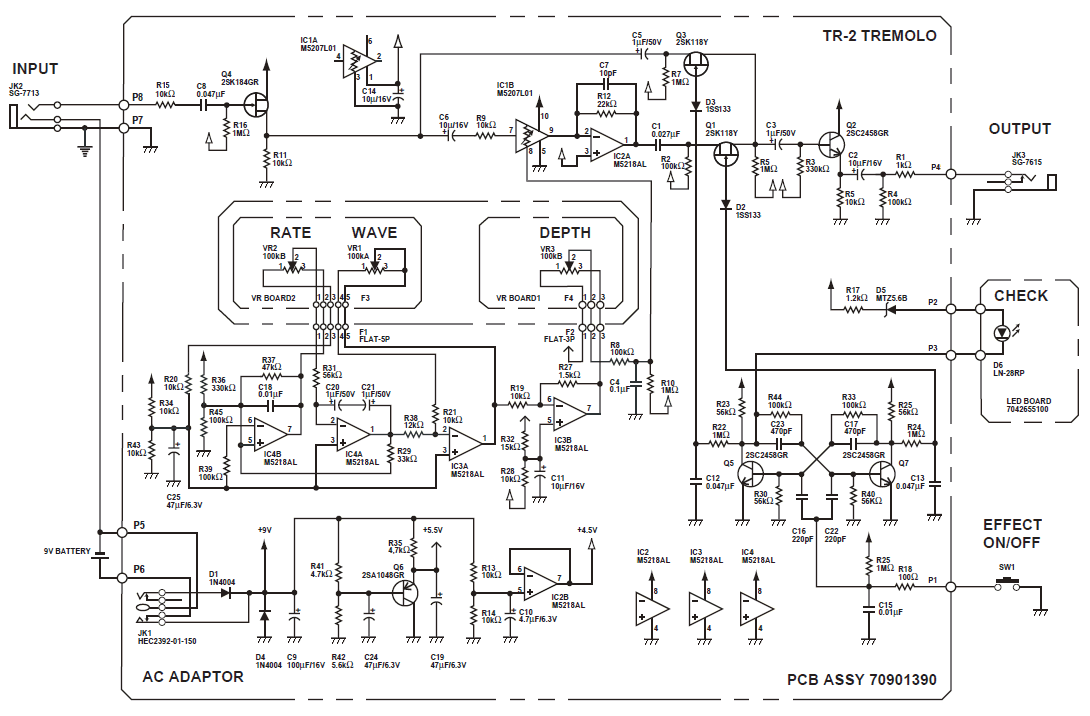 boss tr 2 tremolo pedal schematic diagram schematic diagram of boss tr 2 tremolo pedal