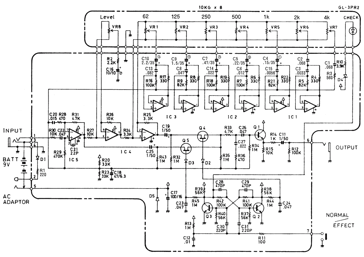 Boss GE-7B B Equalizer guitar pedal schematic diagram on compressor schematic, 5 band equalizer bass, vocoder schematic, 5 band equalizer settings, 5 band graphic equalizer,
