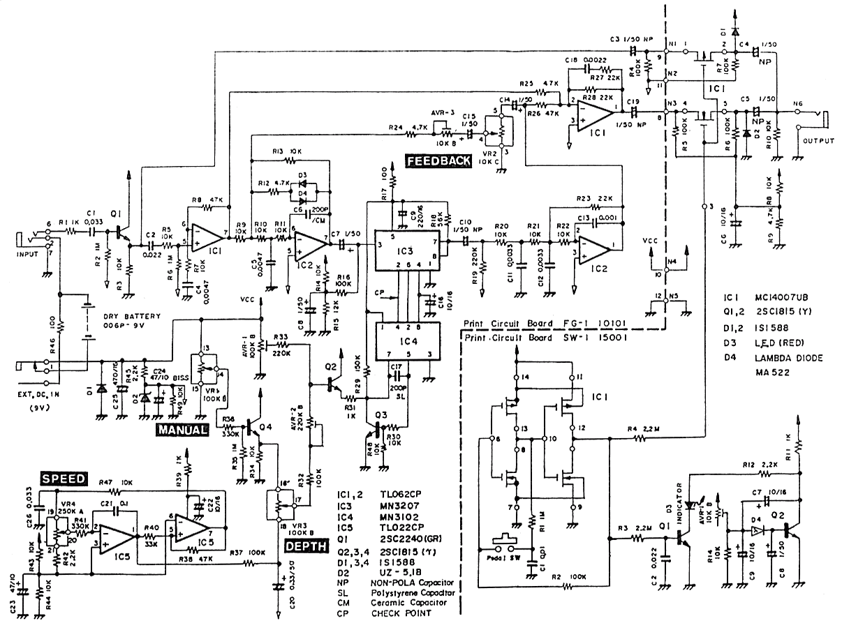 Schematic diagram of Pearl FG-01 Flanger